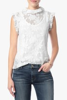 7 For All Mankind Sleeveless Ruffled Lace Top In Ice White