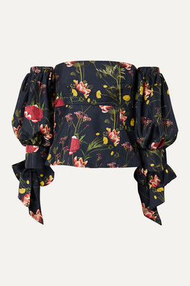 Mother of Pearl Off-the-shoulder Floral-print Silk-satin Twill Top - Midnight blue