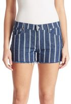 7 For All Mankind Striped Cut-Off Denim Shorts