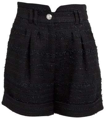 Balmain High Rise Tweed Shorts - Womens - Black