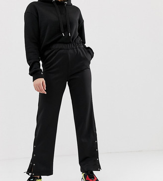 Noisy May Petite wide leg track pant with concealed popper detail-Black