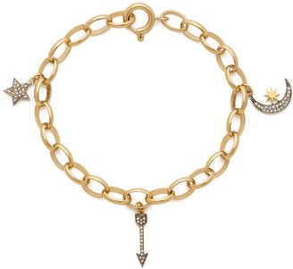 Kirstie Le Marque Gold Bracelet Chain with Pave Diamond Charms