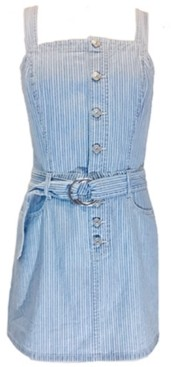 Rewash Juniors' Cotton Belted Denim Dress