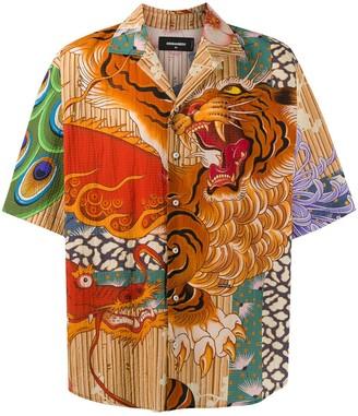 DSQUARED2 Tiger-Print Shirt