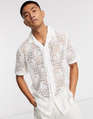 ASOS DESIGN regular fit paisley lace shirt with revere collar in white
