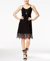 SHIFT Juniors' Lace-Trim Slip Dress, Only at Macy's