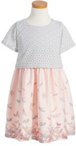 Pumpkin Patch Girl's Feather Graphic & Crochet Popover Dress