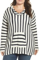 Two by Vince Camuto Stripe Seed Stitch Hoodie (Plus Size)