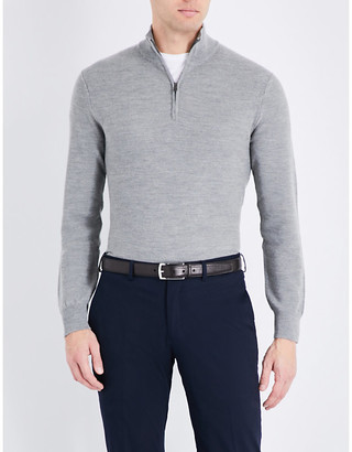 Ralph Lauren Purple Label Men's Grey Half-Zip Wool And Cashmere-Blend Jumper, Size: L