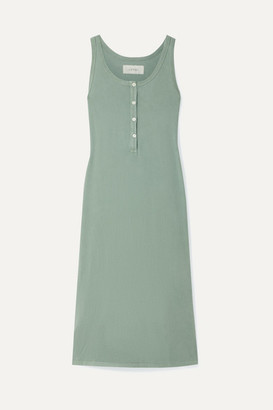 The Great The Slim Henley Cotton-jersey Dress - Gray green