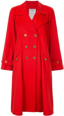 Chanel Pre Owned 1994 Cashmere Double-Breasted Flared Coat
