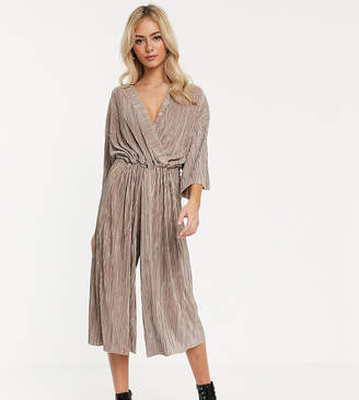 Another Reason relaxed wrap front jumpsuit with toggle tie in crinkle fabric-Beige
