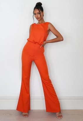 Missguided Orange Co Ord Tailored Flare Pants