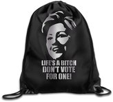 WBADLCW Life's A Bitch DON'T VOTE F Platinum Style Drawstring Backpack Bag