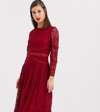 Asos DESIGN TALL long sleeve prom dress in lace with circle trim details