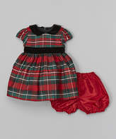 Jayne Copeland Red & Green Plaid Dress & Bloomers - Infant