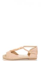 Quiz Beige Jewel Hessian Flat Sandals