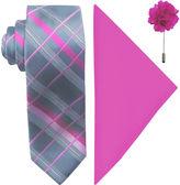 Jf J.Ferrar JF Fashion Grid Tie, Pocket Square and Lapel Pin Set
