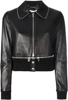 Givenchy zipper trim leather jacket - women - Cotton/Lamb Skin/Polyamide/Viscose - 36