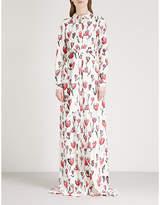 Oscar de la Renta Floral-print stretch-silk maxi dress