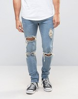 Liquor & Poker Skinny Jeans Ripped Ankle Zip