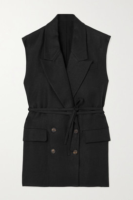 Brunello Cucinelli Belted Double-breasted Linen-twill Vest - Black