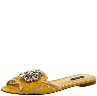 Dolce & Gabbana Yellow Lace Jeweled Embellishment Flat Slides Size 38