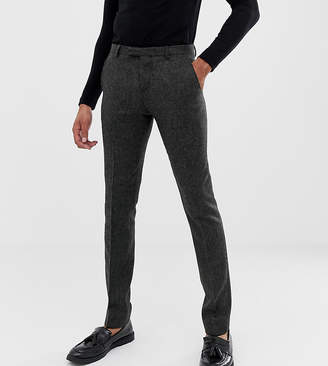 Twisted Tailor super skinny suit trouser in charcoal donegal tweed-Grey
