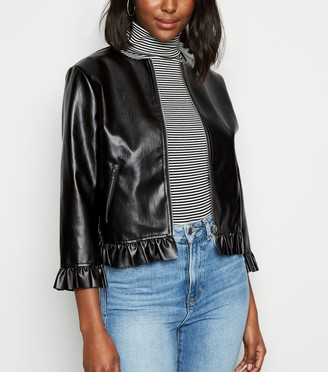 New Look Leather-Look Frill Jacket