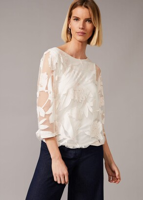 Phase Eight Reine Floral Bubble Hem Burnout Top