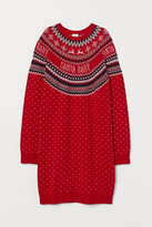 H&M Jacquard-knit Dress - Red
