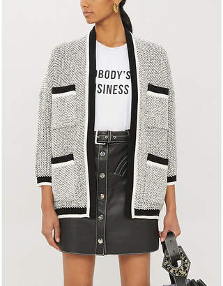Maje Contrast-trimmed knitted cardigan