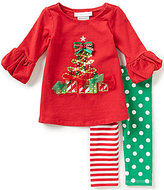 Bonnie Jean Bonnie Baby Girls Newborn-24 Months Christmas Tree Top and Mixed Print Leggings Set