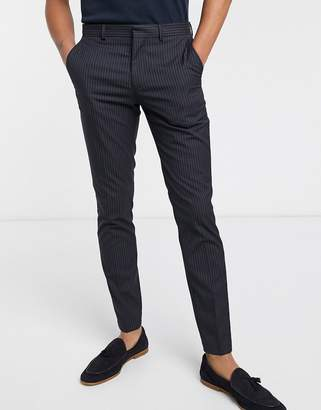 Selected Mathrep navy pin stripe slim fit trousers