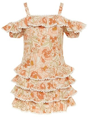Bardot Junior Girl's Caitlyn Cold-Shoulder Ruffle Tiered Floral Dress
