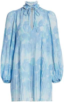 Ganni Floral Pleated Shirtdress