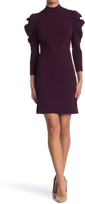 Calvin Klein Puffed Shoulder Mock Neck Dress