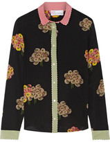 RED Valentino Crepe-trimmed Floral-print Silk Shirt - Black