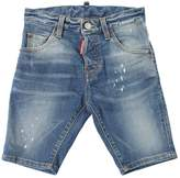 DSQUARED2 Faded Stretch Cotton Denim Shorts