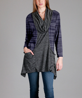 Aster Navy & Gray Pocket Cowl-Neck Sidetail Tunic - Plus - Plus Too