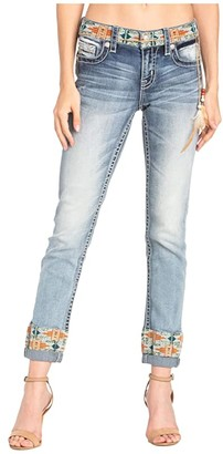 Miss Me Cuffed Ankle Skinny in Light Blue (Dark Blue) Women's Jeans