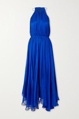 BURNETT NEW YORK Cutout Gathered Silk-chiffon Maxi Dress - Royal blue