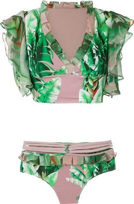 AMIR SLAMA printed crop top bikini set