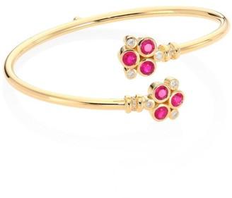 Temple St. Clair Trio Bellina Diamond, Ruby & 18K Yellow Gold Bangle Bracelet