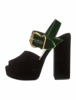 Prada Velvet Platform Sandals w/ Tags Black