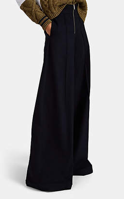 Maison Margiela Women's Wool-Blend Wide-Leg Trousers - Blue