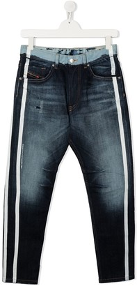 Diesel TEEN paint-stripe distressed jeans