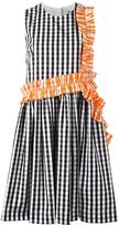 MSGM checked ruffle detail dress - women - Cotton - 40