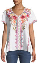 Johnny Was Libbie Embroidered Linen High-Low Top