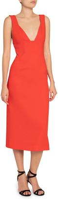 Victoria Beckham Crepe V-Neck Body-Con Dress